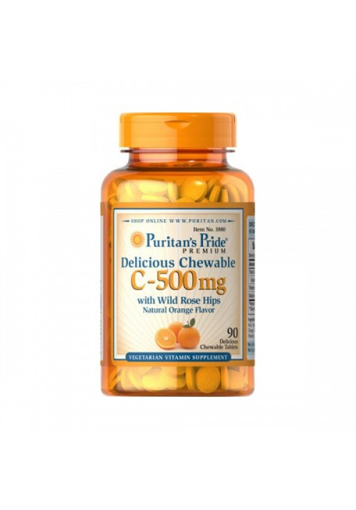 Puritan's Pride Vitamin C-500 mg With Rose Hips (90 Rágótabletta)